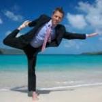 business man doing yoga